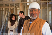 Portrait photo of a construction worker on a home construction job